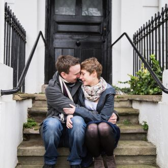 1 Engagement photography couple front door step Oxford