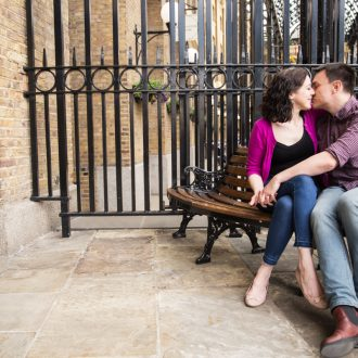 14 London engagement shoot south bank bench kiss