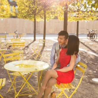 6 Engagement photography London Kings Cross yellow chairs