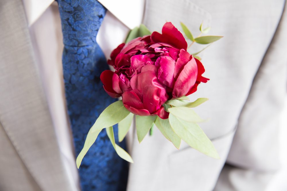 Cambridge wedding groom flowers