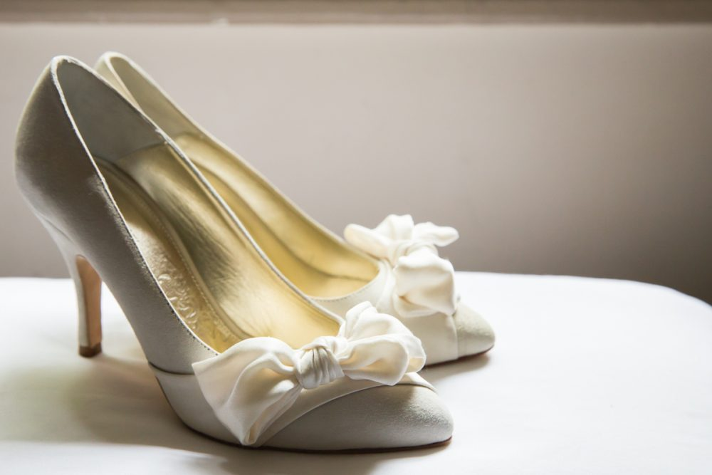 wedding photography wedding shoes with bow