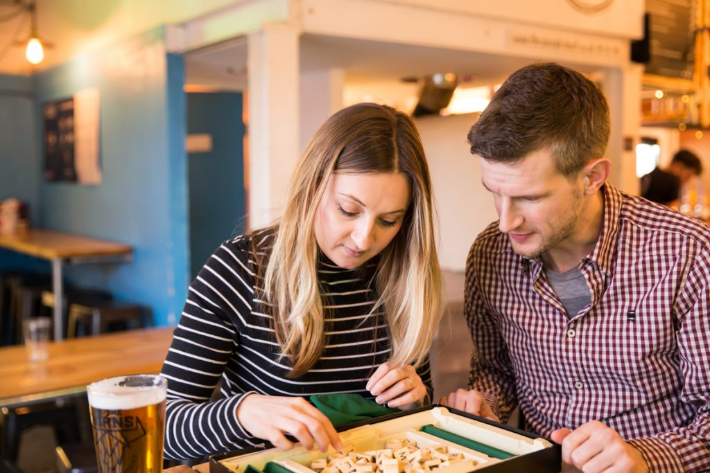 Scrabble engagement photo