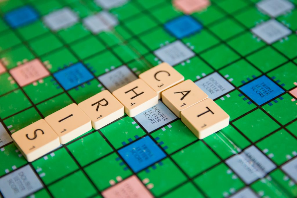 Scrabble board game engagement photo