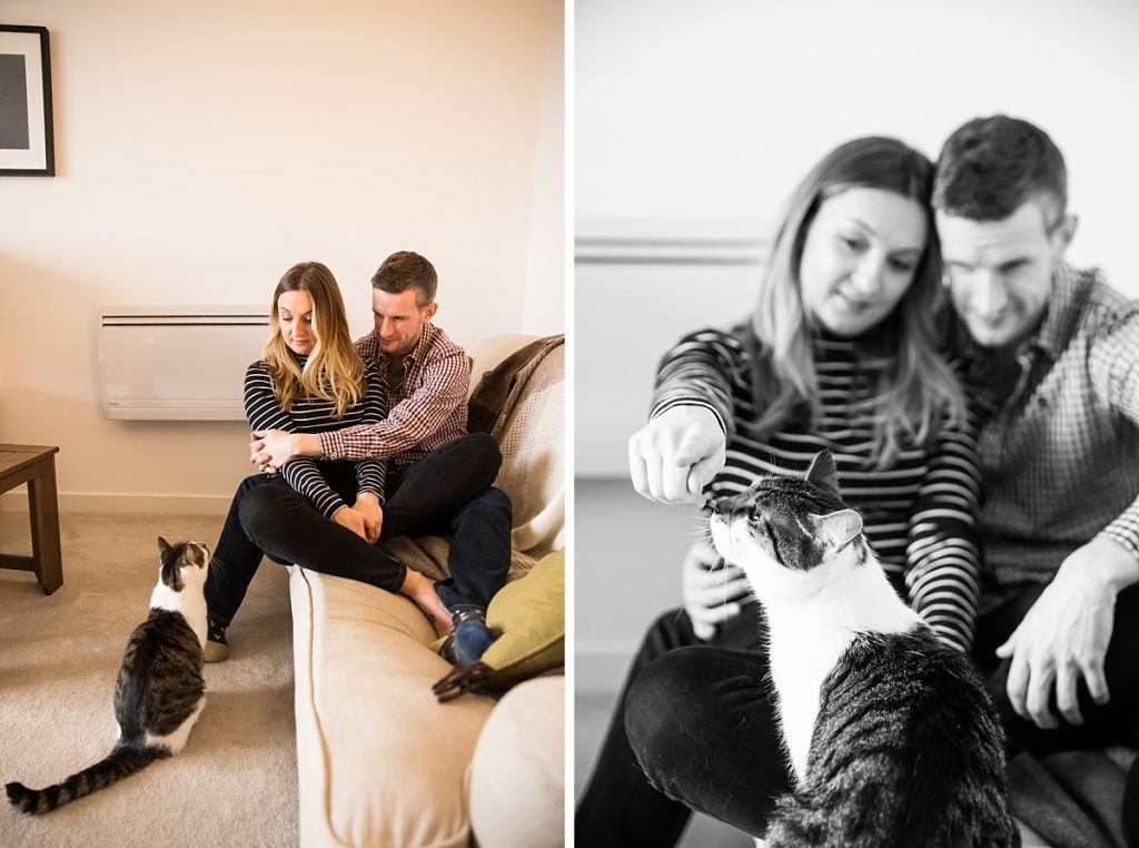 At home engagement photos with cat