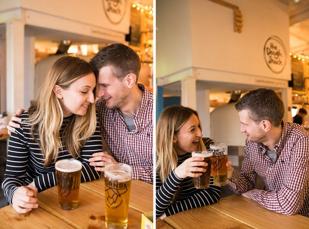 London engagement photography with beer