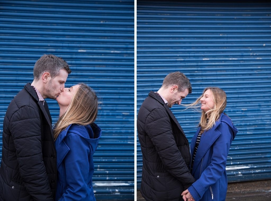 Kissing engagement photos London