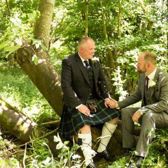 gay woodland wedding two grooms