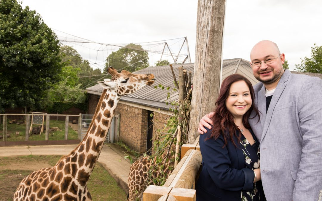 London Engagement Photography – London Zoo Engagement Photos with Giraffes – Gilly & Den
